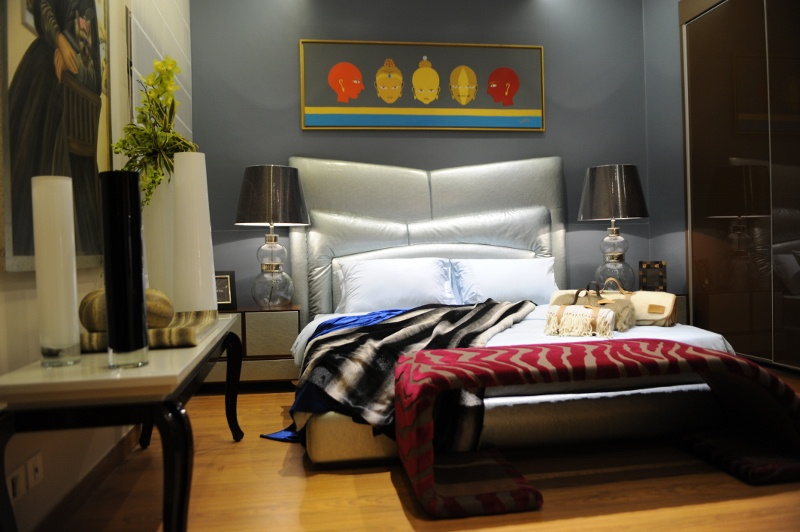 High back Leather bed in the Bedroom is modern and Chic