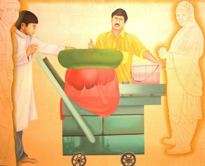 """Feroz Khan, Jal Jeera . 39"""" x 48"""" . oil on canvas . 2012"""
