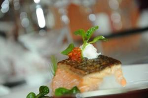 Salmon with horseradish, watercress, pancetta soil, Shangri-la