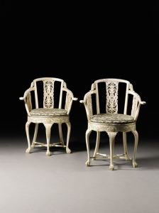 Anglo-Indian carved and parcel-gilt armchair
