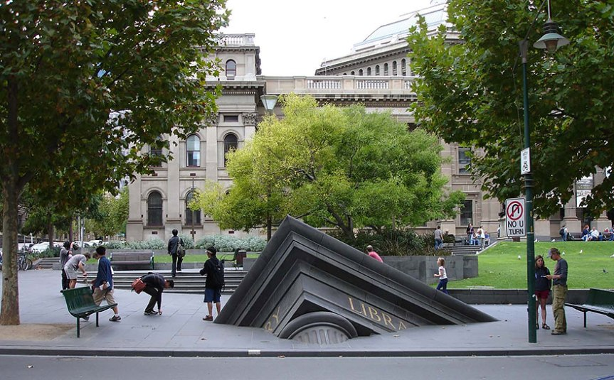 Sinking building outside state library,Melbourne, Australia, www.stylecity.in